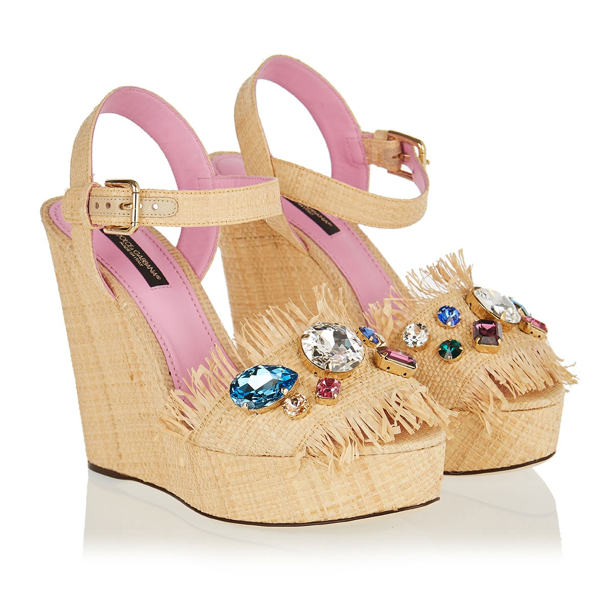 Crystal-embellished wicker wedges