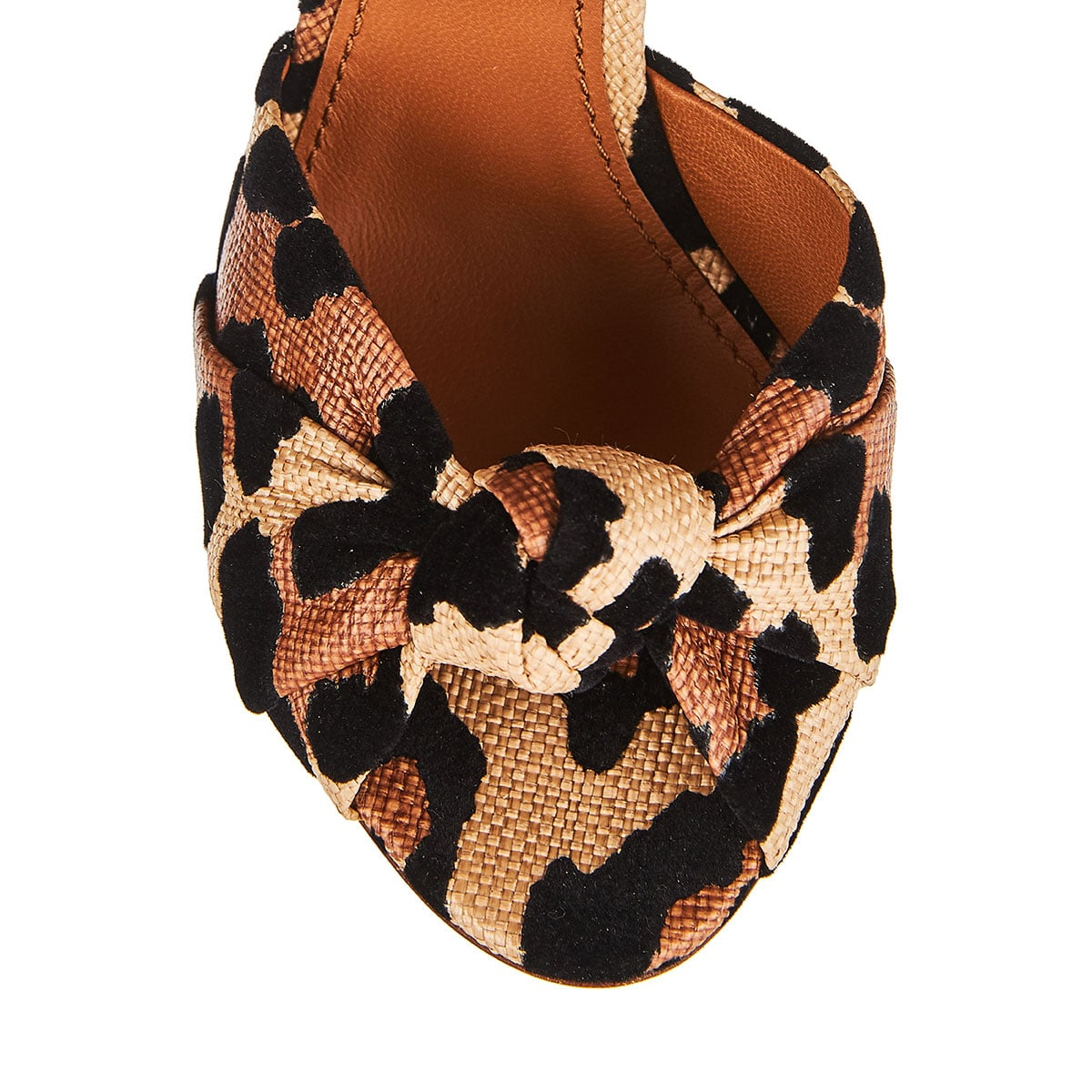 Embellished leopard canvas and leather sandals