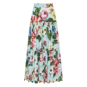 Floral long poplin tiered skirt
