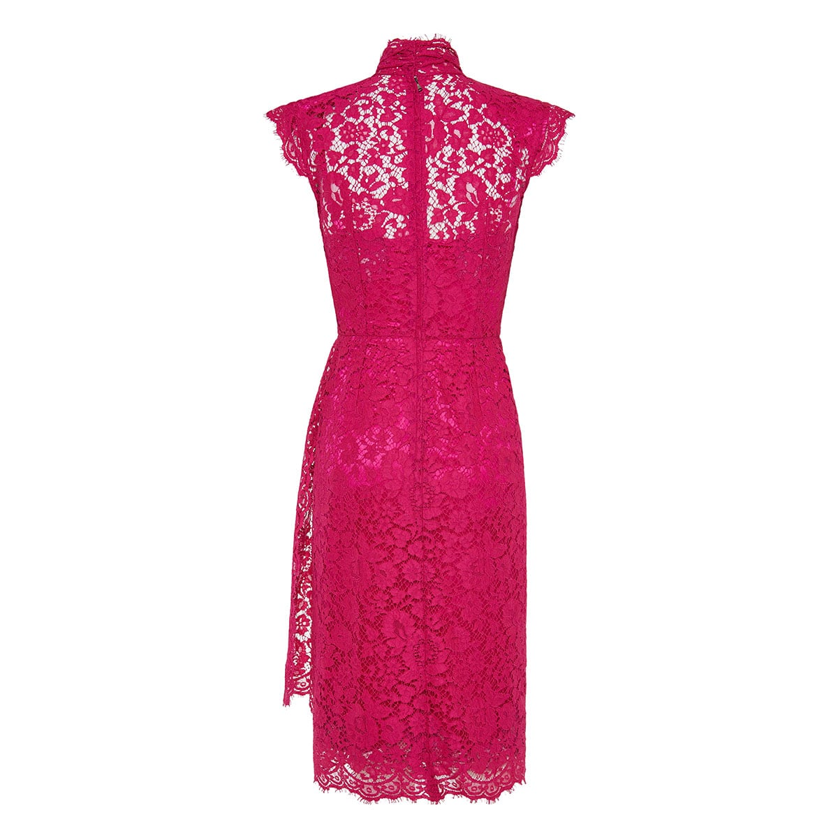 Bow-tie draped lace midi dress