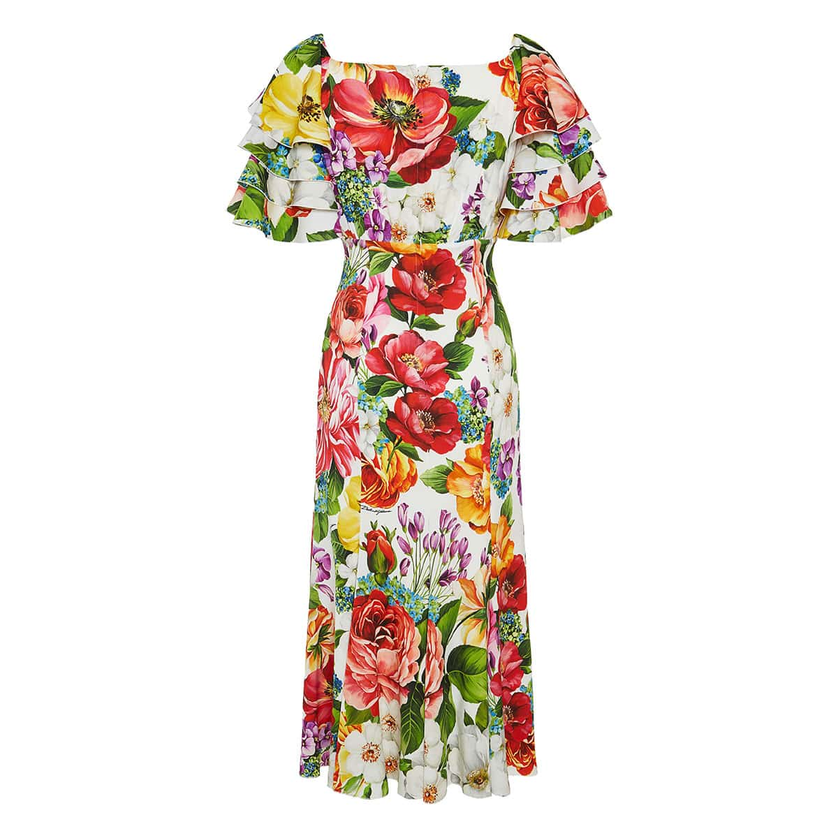 Ruffle-trimmed floral midi dress