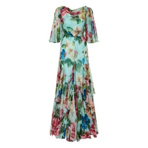 Floral pleated chiffon gown