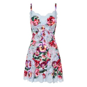 Lace-paneled floral slip dress