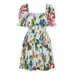 Puff-sleeved floral pleated mini dress