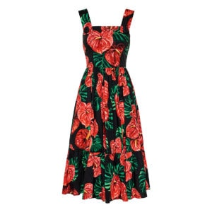 Laceleaf print pleated midi dress