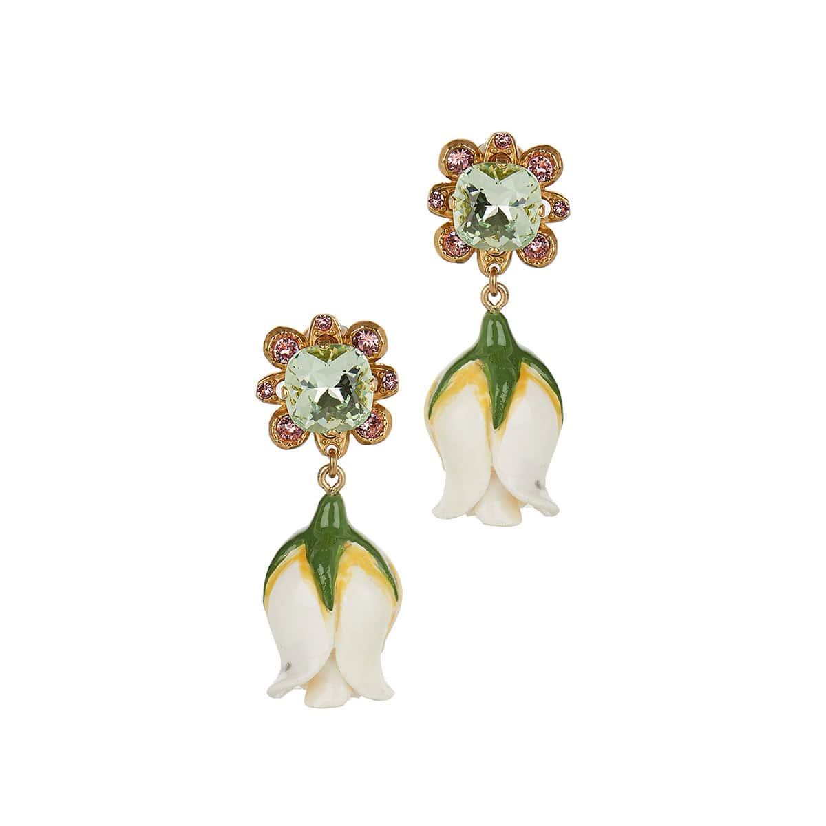 Crystal and resin drop earrings