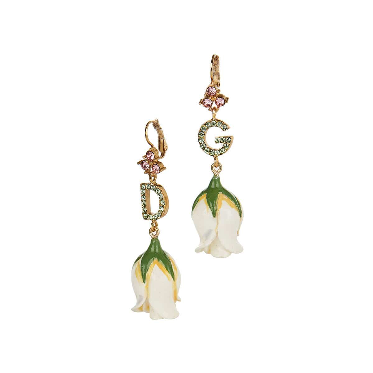 DG drop earrings with resin flowers