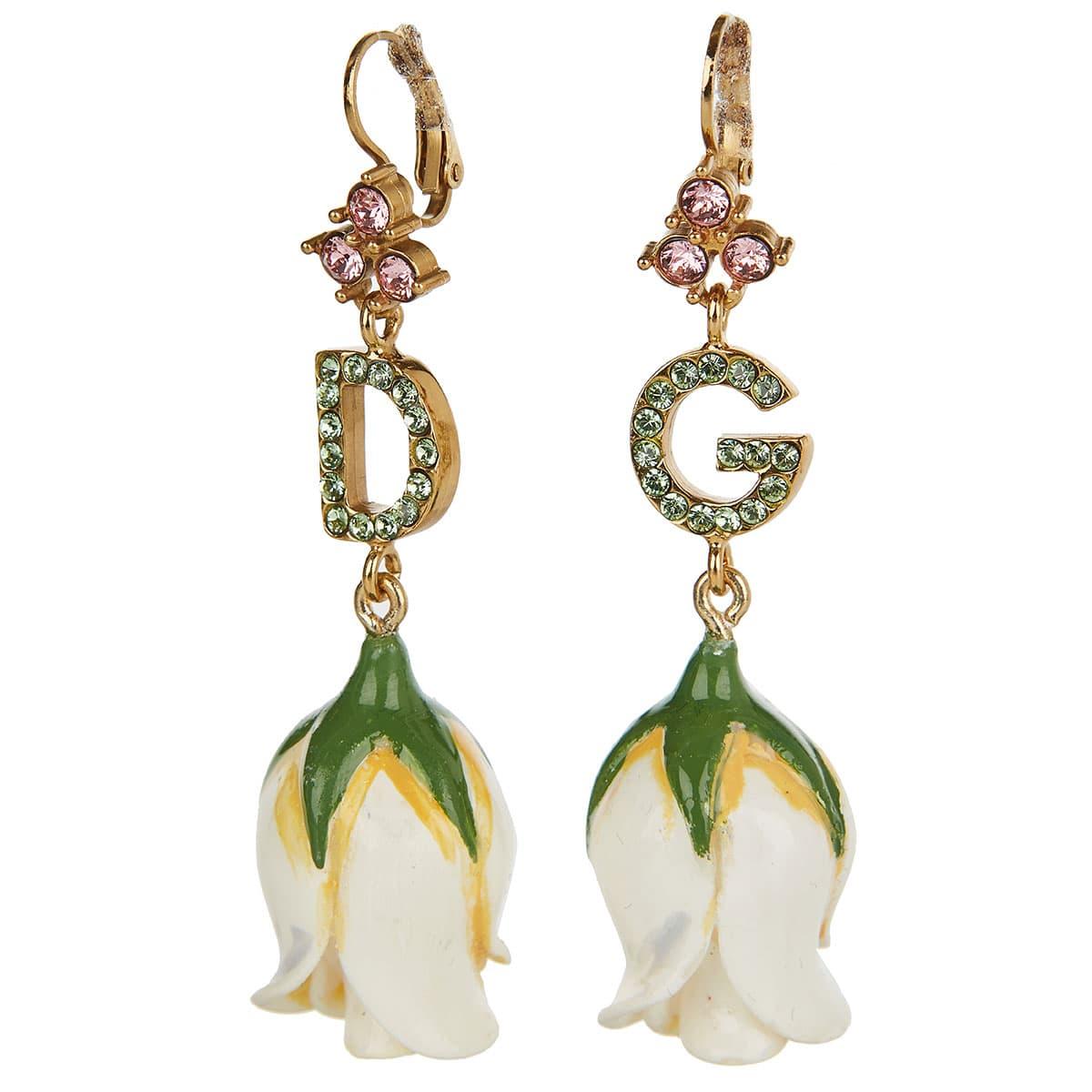 DG drop earrings with resin flowers