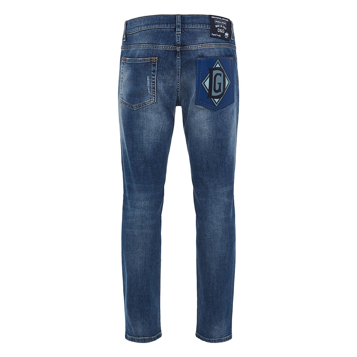 Distressed skinny jeans with logo patch