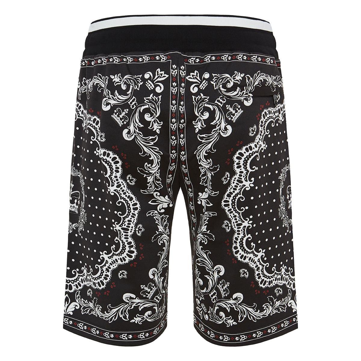 Bandana and Crown printed track shorts