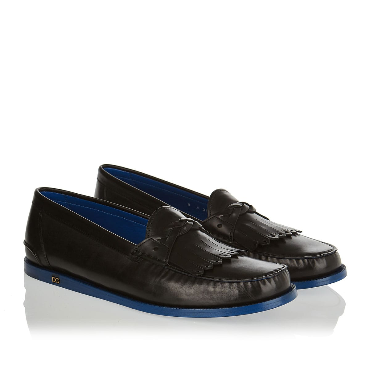 Two-tone leather loafers