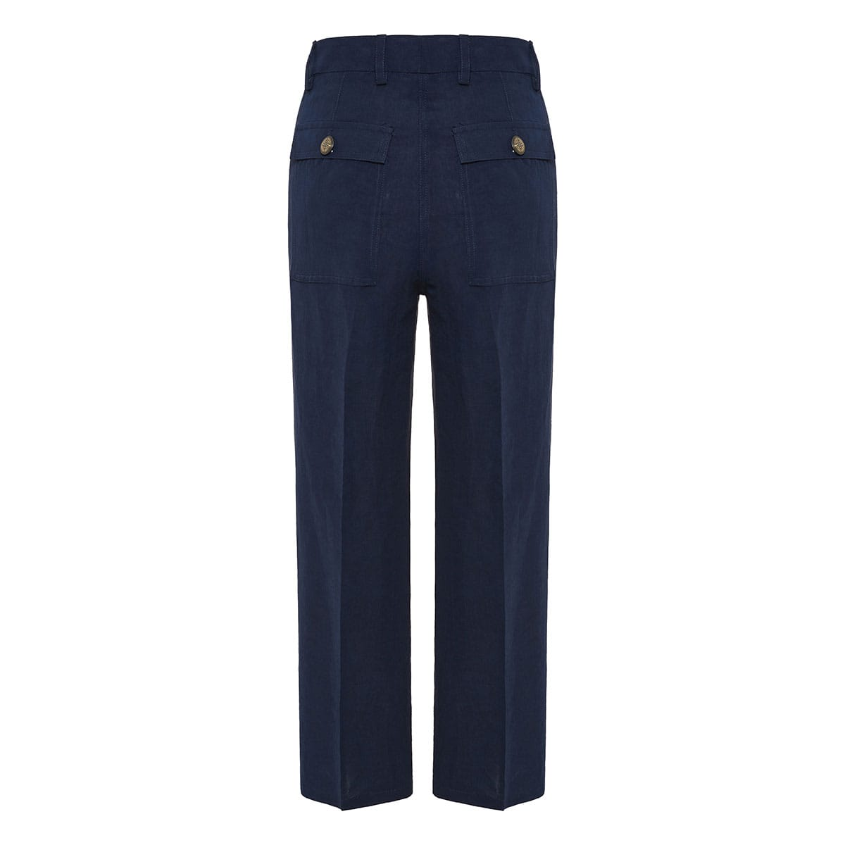 Wide-leg cropped linen trousers