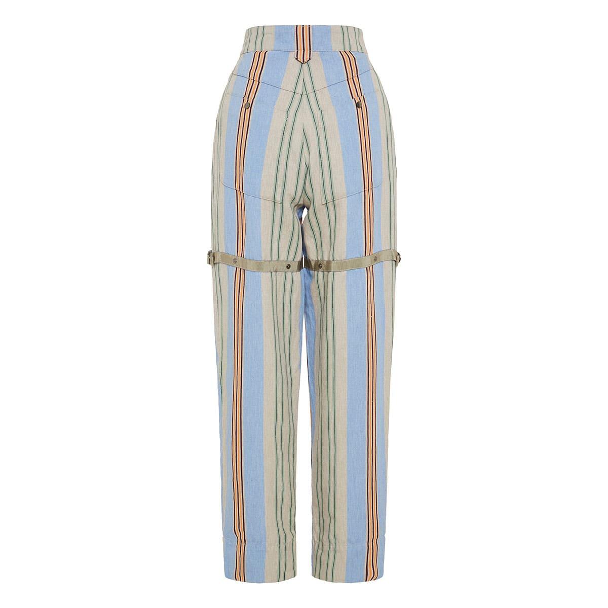 High-waist striped trousers