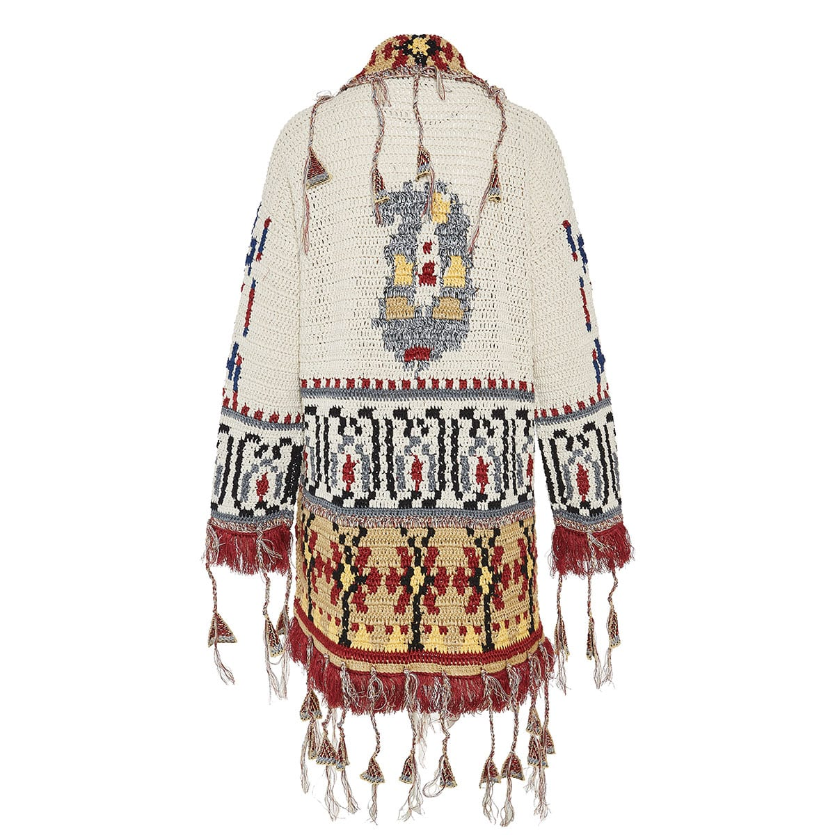 Oversized jacquard-knitted fringed cardigan