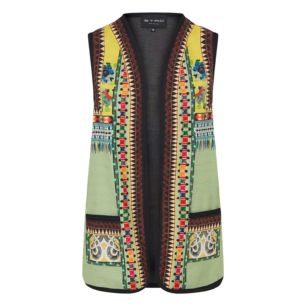 Patchwork printed embroidered waistcoat