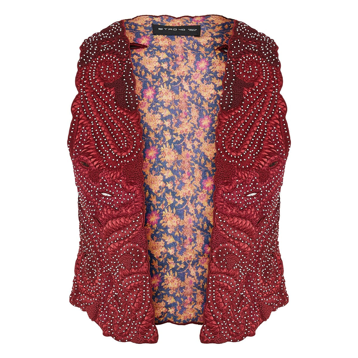 Embroidered vest with beads