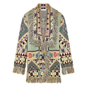 Jacquard-knitted oversized fringed cardigan