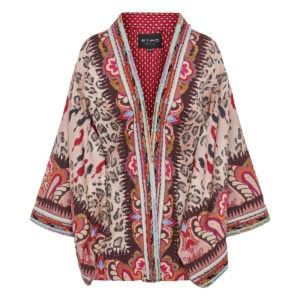 Printed kimono with embroidered trims