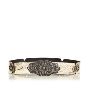 Embellished snake-effect leather belt