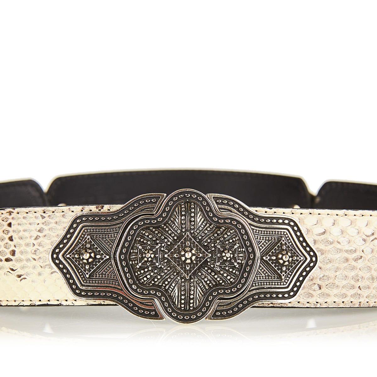 Embellished snake-effect leather belt