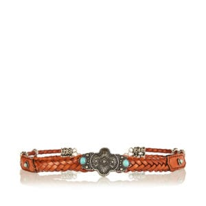 Embellished braided leather belt