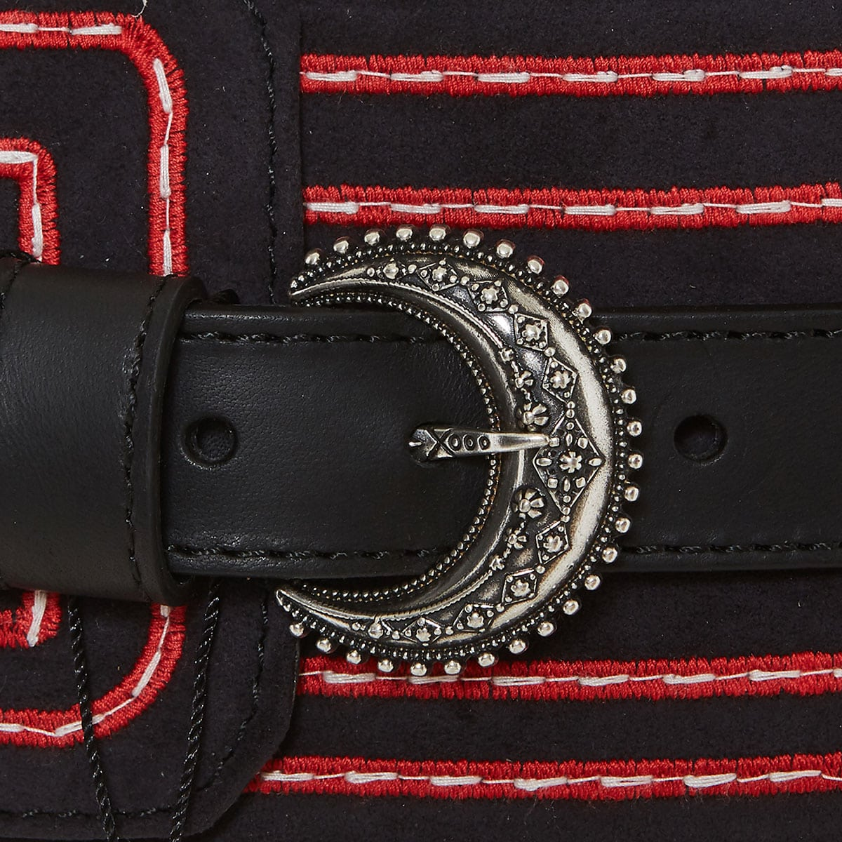 Wide embroidered belt with metal charms