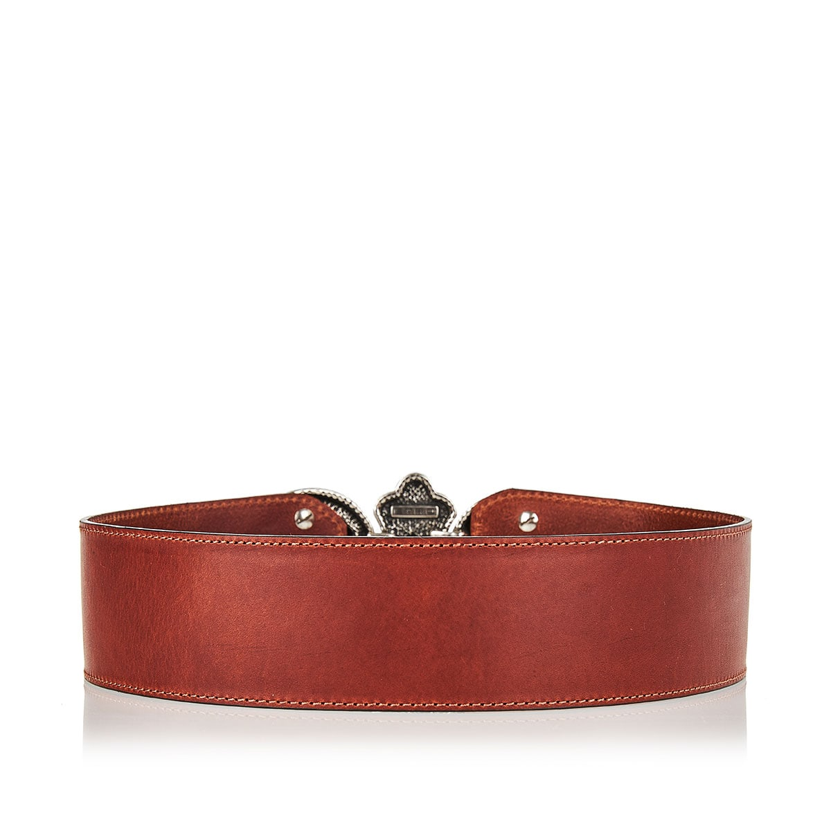 Leather belt with jeweled paisley buckle