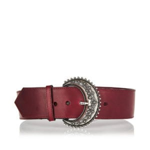 Jeweled-buckle wide leather belt