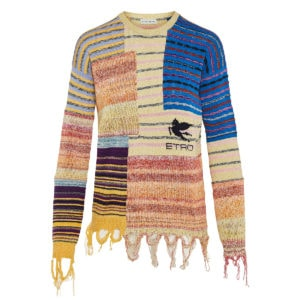 Patchwork printed frayed sweater