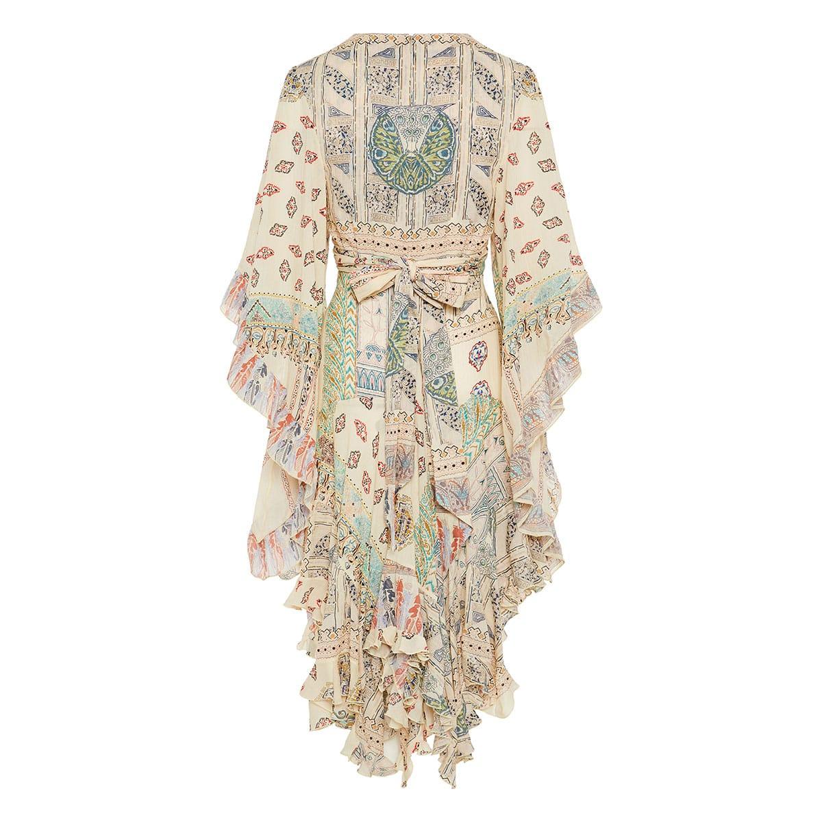 Patchwork-print ruffled draped dress