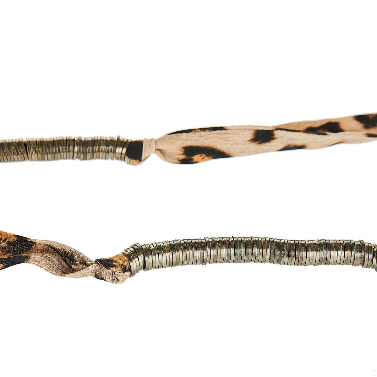 Metal-embellished tasseled leopard scarf