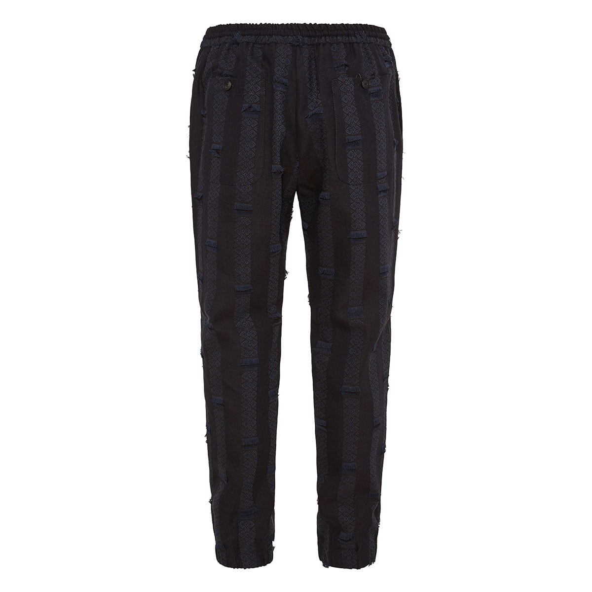 Embroidered fringed linen trousers