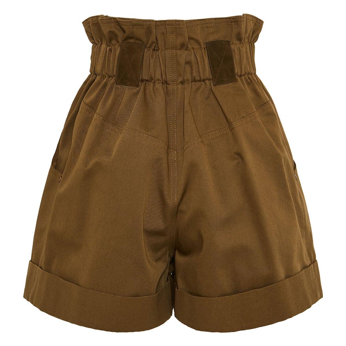 High-waist gabardine shorts