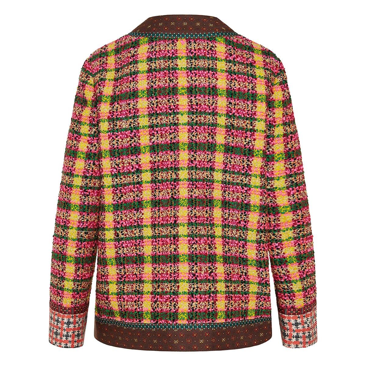 Oversized tweed checked cardigan