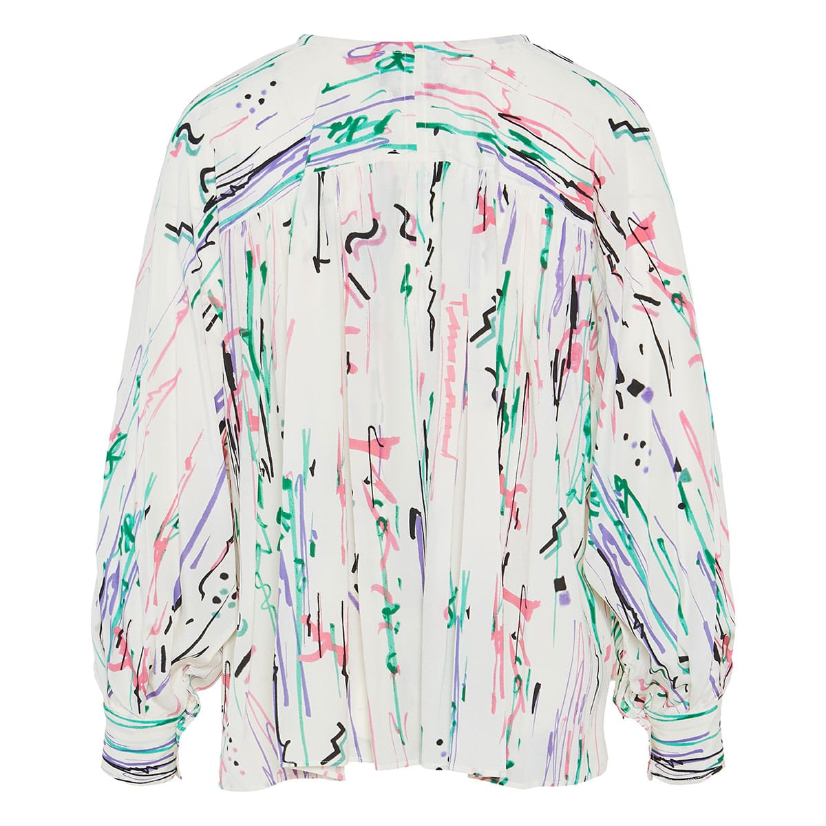 Printed gathered silk blouse