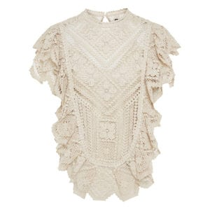 Zainos ruffled crochet-knitted top