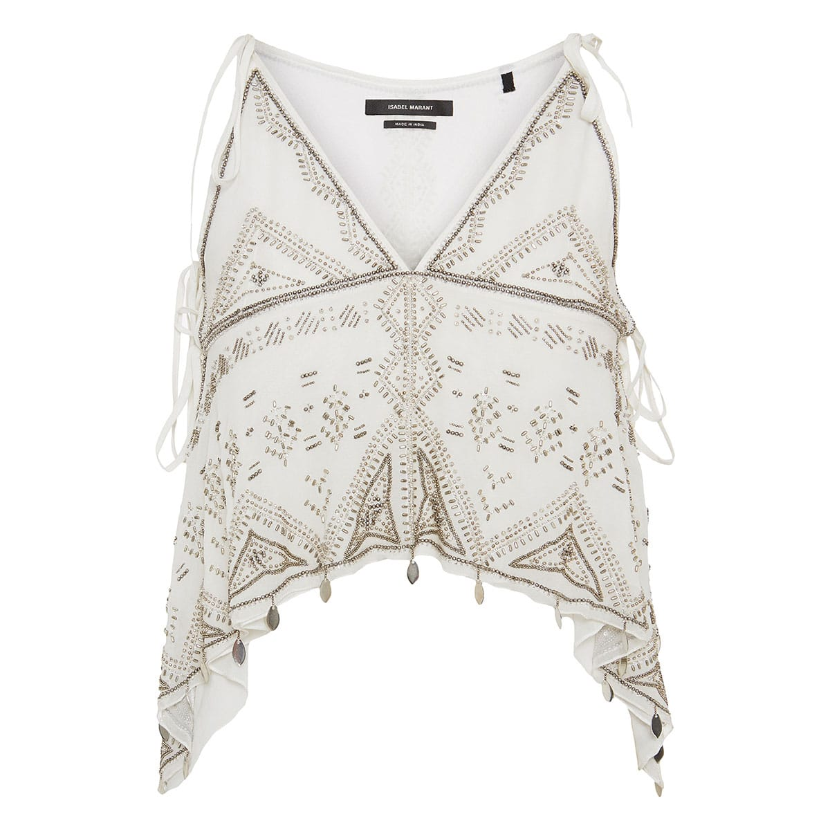 Bead-embellished silk cropped top