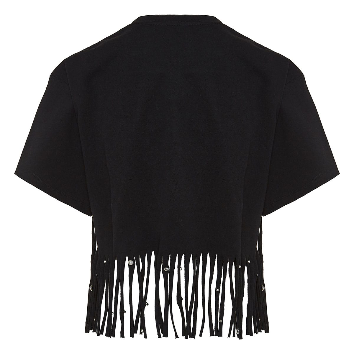 Bianea fringed cropped top with studs