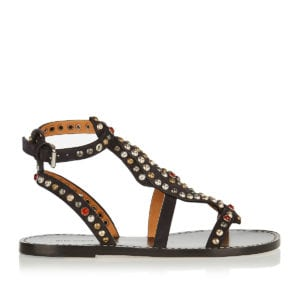 Studded suede flat sandals