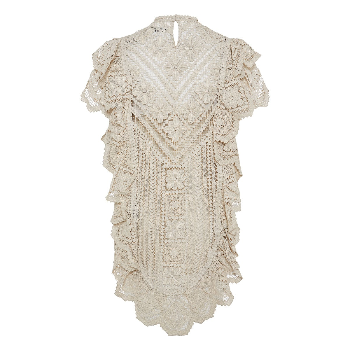 Zanetti ruffled crochet-knitted mini dress