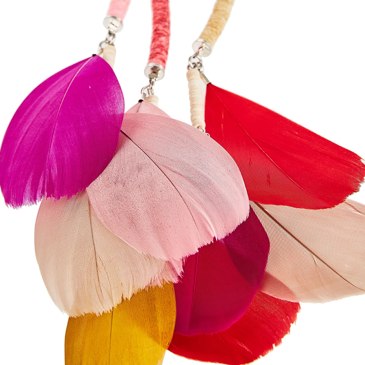 Vitoria long feather-trimmed necklace