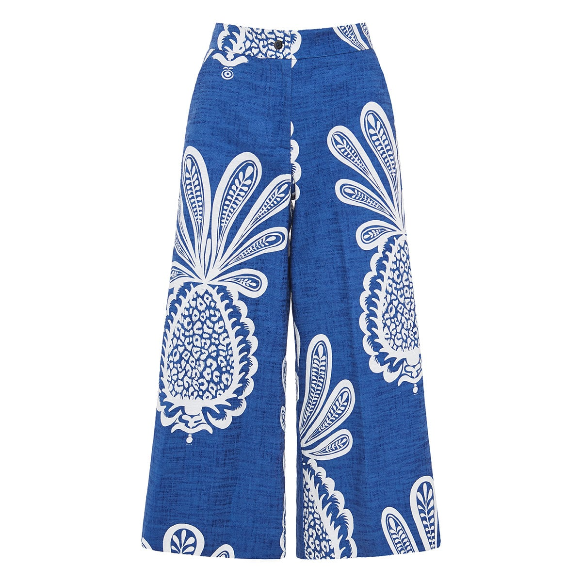 Coulotte printed wide-leg cropped trousers