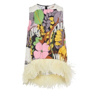 La Scala feather-trimmed floral asymmetric top