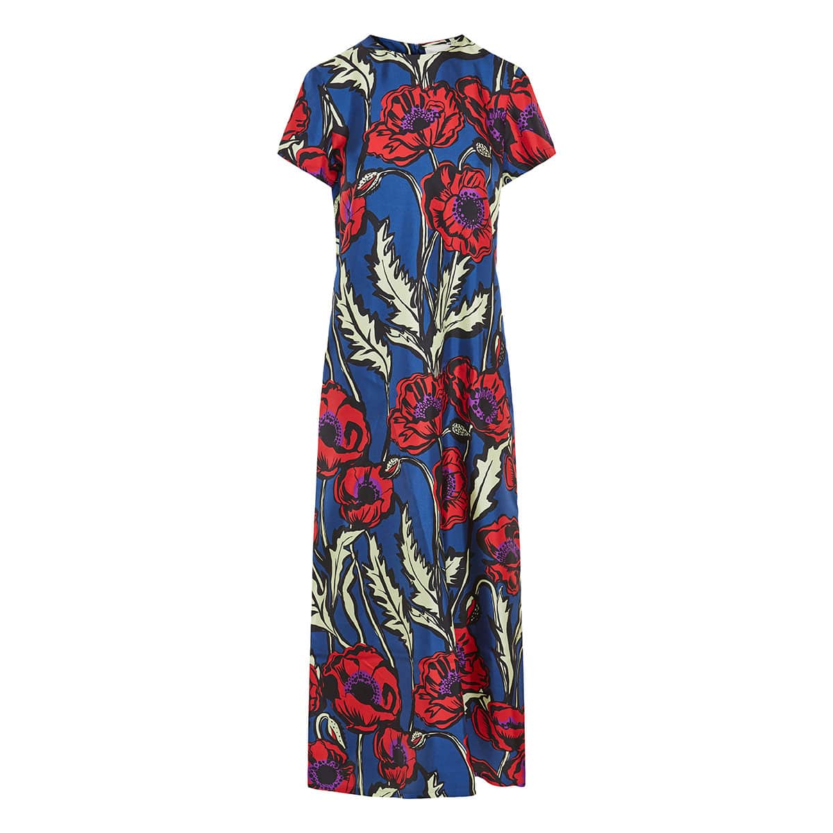Swing long floral twill dress