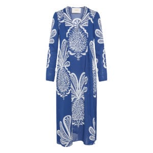 V Trapezio printed midi dress