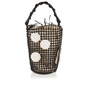 Flower Mesh leather bucket bag