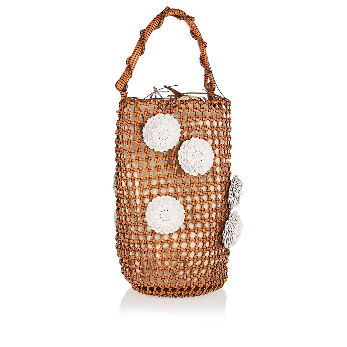 Flower Mesh leather bucket bag