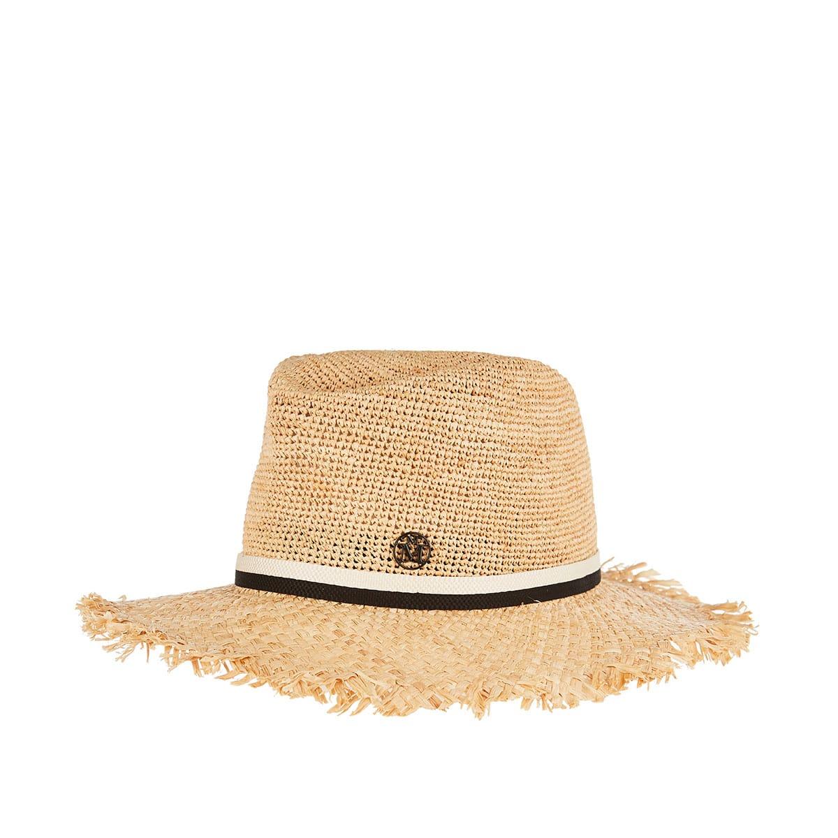 André frayed raffia hat