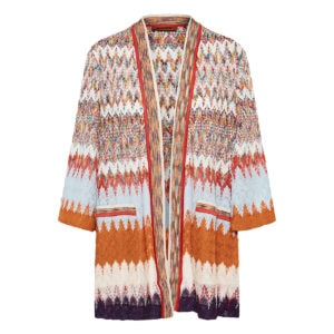 Abstract print crochet cardigan