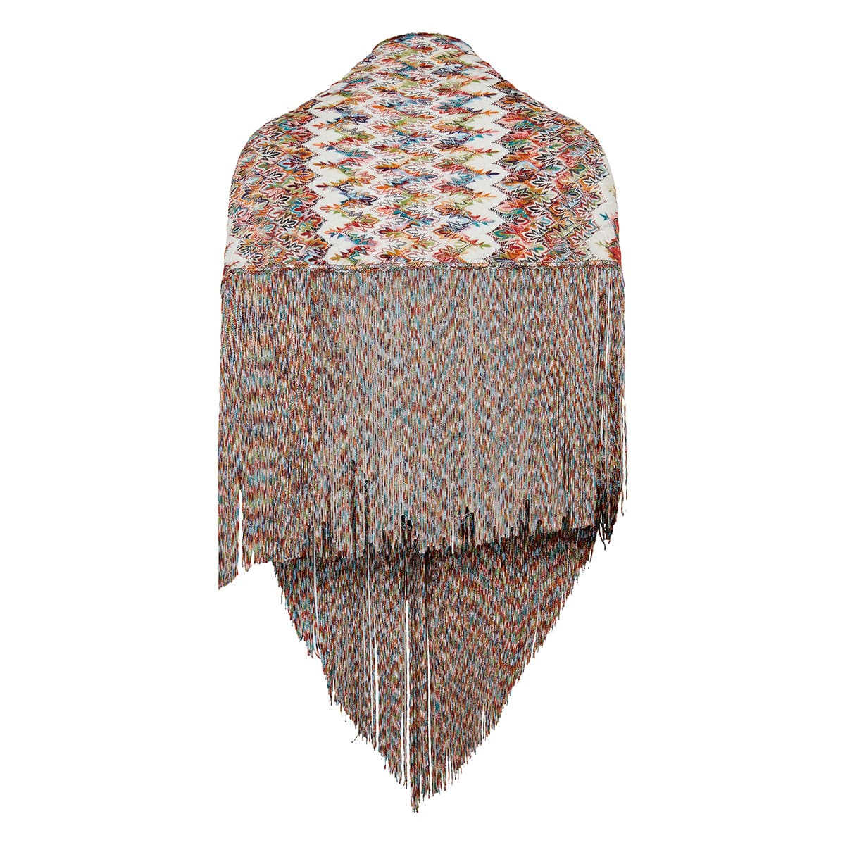 Fringed knitted shawl